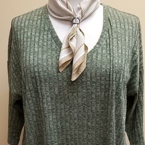 2x (18-20) Faded Glory Olive Green Sweater